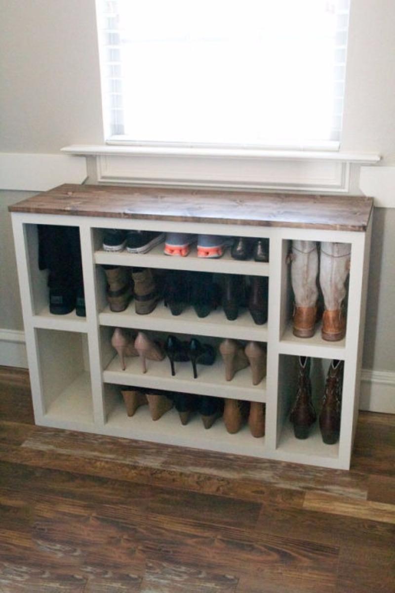 Ten genius do it yourself ways to store your shoes hometriangle wooden crate shoe shelf solutioingenieria Choice Image