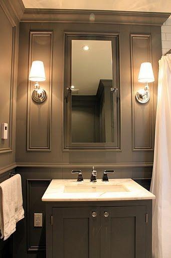 A dark color used in a small bathroom