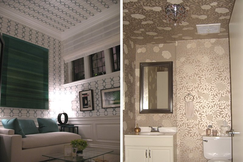 Don 39 t forget the ceiling cool ceiling decorating ideas for Paintable wallpaper for bathroom