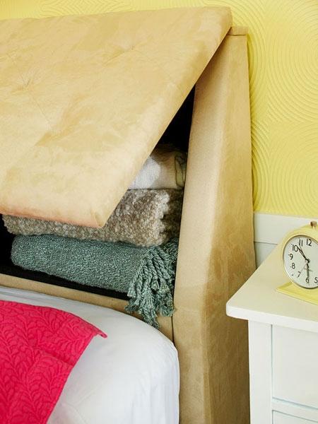 In Built Storage In Headboard To Store Bed Linen