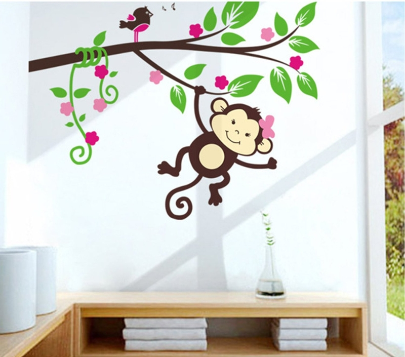 Set of 3 Cheeky Monkeys Boy /& Girl Design WALL STICKERS